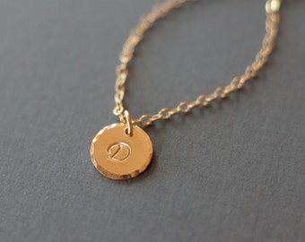 Gold Single Initial Necklace - Single Letter - Hand Stamped Jewelry - Gold Filled