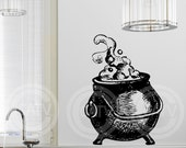 Halloween Witch Cauldron vinyl lettering wall decal sticker art home decor