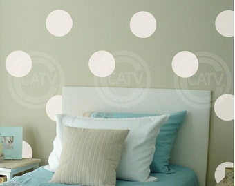 "Vinyl Dot Decals 6"" set of 24 YOU CHOOSE COLOR Vinyl Polka Dot circle decal sticker wall art lettering"