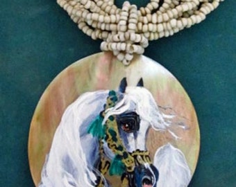 Arabian horse art handpainted necklace on mother of pearl chestnut 6