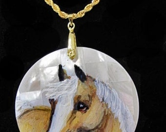 Palomino horse art handpainted necklace o mother of pearl