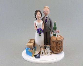 Cake Topper Custom Handmade Bride & Groom Travel Theme Wedding