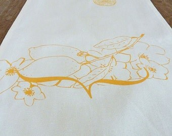 Hand-printed Lemon Organic Cotton Table Runner Large