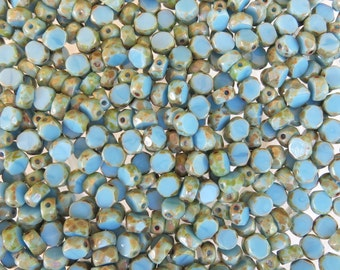 6mm Faceted Opaque Blue Turquoise Picasso Table Cut Firepolished Czech Glass Beads (AW141)