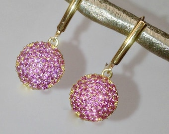 Pink Pave Earring, Pink Topaz Earrings, Minimalist Dangle Gold Vermeil Pink Earring, Pink Wedding Earring, Evening Earring