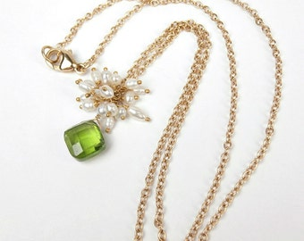 Peridot Necklace 14kt Solid Gold Peridot, Seed Pearl Cluster Dangle Necklace August Birthstone Peridot Jewelry Green Gemstone Pearl Cluster