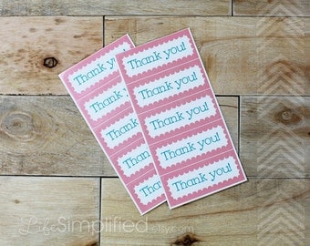 Thank You Stickers - Pink and Blue Scalloped Rectangle, Thank You Favors, Etsy Packaging - 2.5 inch, set of 10
