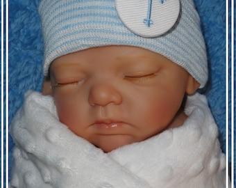 Newborn Baby Boy hats, Baby boy Hospital Hat, embroidered cross, infant hospital hats, baby boy beanies, newborn beanies, baby hats