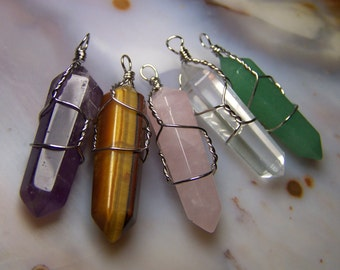ONE crystal necklace pendant - Double Terminated stone point - silver wire wrap Green Aventurine Tiger Eye clear quartz amethyst rose quartz