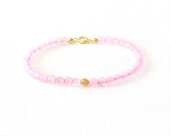 Gold Gemstone Bracelet - Rose Quartz, Brass - Pink, Gold - The Stoned: Filigree 4mm Round