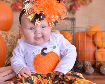 Fall Thanksgiving Orange Brown and Green Over The Top Funky Birthday Boutique Hair Bow on matching Headband