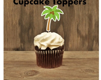 Luau Party- Set of 12 Palm Tree Cupcake Toppers by The Birthday House