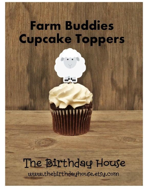 Farm Birthday Party - Set of 12 Sheep Cupcake Toppers by The Birthday House