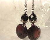 Burgundy Button Earrings: Shank Buttons with Black Beads on Gunmetal Wire
