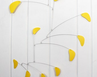 Mobile, Lemon Yellow, Hanging Mobile, Housewarming Gift, Baby Shower Gift, Kids Room Art, Abstract, Calder Inspired, Nursery Mobile Art