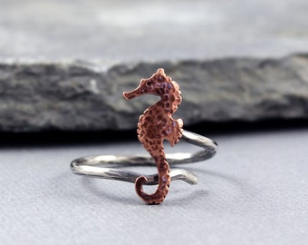 Seahorse copper adjustable ring, Beach Jewelry, Ocean Jewelry, Gifts for Her, Metalwork, MADE to ORDER