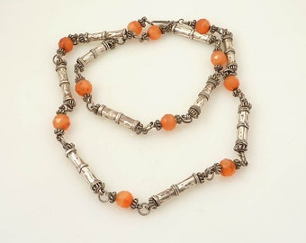Antique Carnelian Bead and Sterling Barrel Nepalese Necklace