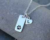 Pet Love Necklace with Initial -Tiny dog or cat paw print and heart charms- sterling silver- hand stamped memory charm -free shipping USA