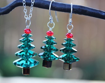Emerald and Cherry Red Christmas tree sterling silver necklace & earring set - made w/ green + red Swarovski crystals - free shipping USA