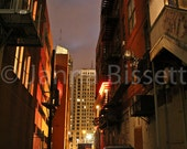 Detroit Alley at Night Fine Art Photograph on Metallic Paper