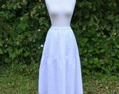 Maxi Slip Skirt Extender Long Petticoat White Cotton Batiste w Embroidered Eyelet Bridal Wedding Prairie Ren Faire Victorian Boho Cottage