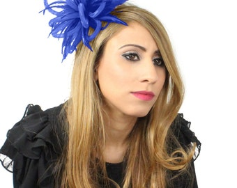 Royal Blue Mini Crin Fascinator Hat for Weddings, Kentucky Derby and Special Events With Headband(in 20 colours)