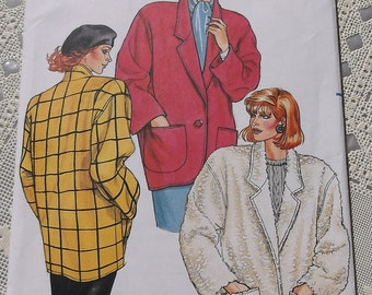 Misses Jacket Pattern Butterick 3421 Loose Fitting Jacket Pattern Size 8,10,12, Uncut Pattern ,Below the hip Jacket,
