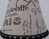 NIGHT LIGHT Paris French Document Print Shabby Chic Farmhouse Country Style Elegant lampshade Clip On Light Bulb Fabric Covered Black Brown