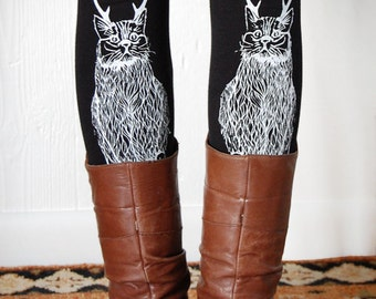 The Original Wild Catalope Leggings, fun cat legging, cat with antlers, cat lover leggings, christmas cat, holiday cat for her, by Simka Sol