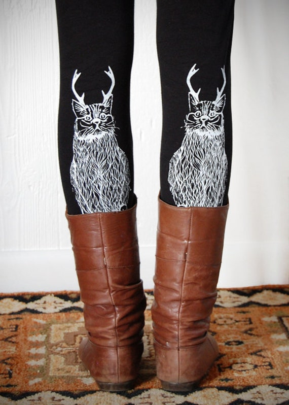 The Original Wild Catalope Leggings, cat leggings, cat with antlers, made in the USA by Simka Sol
