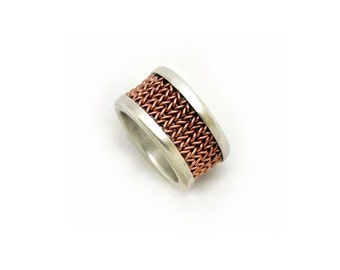 Woven ring || Brass wire set in a sterling silver ring || wedding band || A lifetime piece of jewellry || Handmade in Israel ||