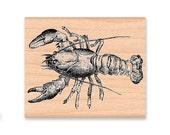LOBSTER STAMP~lobster~spiny~maine~ocean~sealife~sea~beach~party~large stamp~party stamp~dinner~dining~picnic~theme~decor (40-21)( 21-27)