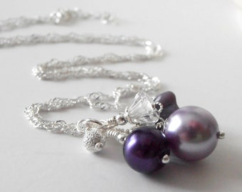 Purple Bridesmaid Necklaces Pearl Cluster Pendant Necklace Wisteria and Lapis Wedding Jewelry  Bridesmaid Gift Flower Bead Bridal Jewelry