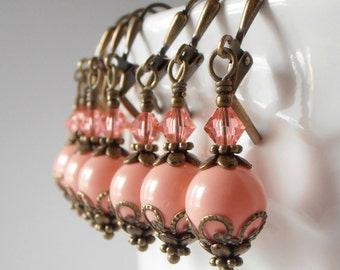 Coral Bridesmaid Earrings, Coral Swarovski Pearl Dangles, Pearl and Crystal Earrings, Coral Wedding Jewelry, Vintage Style Rustic Chic