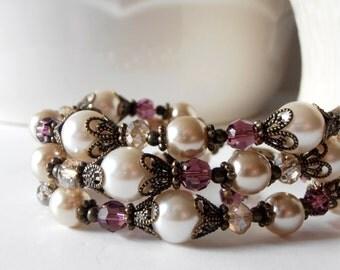 Bridesmaid Bracelet, Chunky Ivory Pearl and Amethyst Crystal Multi Strand, Antiqued Wedding Jewelry, Rustic Bridal Jewelry, Beaded Bracelet