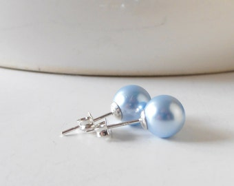 Light Blue Pearl Earrings, Swarovski Elements, Sterling Silver Posts, Simple Wedding Jewelry