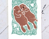 Otters Holding Hands Hand Printed Card, Wedding Engagement Save the Date