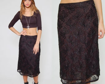 Vintage 80s SEQUIN Pencil Skirt Black STARBURST Lace Glam Body Con Wiggle Skirt