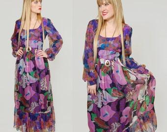 SALE Vintage 70s FLORAL Maxi Dress Purple WATERCOLOR Print Boho Maxi Don Luis de Espana Dress