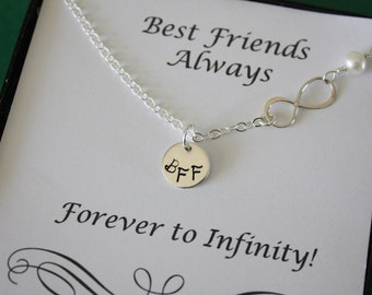 Best Friend Infinity Necklace, Sterling Silver Infinity Jewelry, Friendship Gift, Thank You Card, White Pearl, Sterling Silver Necklace