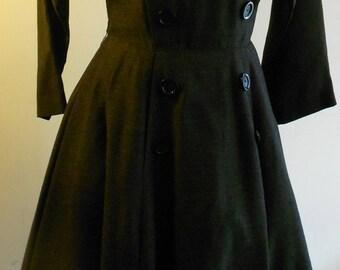 "1950's, 34"" bust, dark slate gray rayon linen dress."