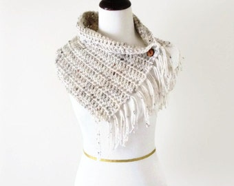 Tan Crochet Cowl, Beige Button Neck Warmer, Off White Scarf - MADE TO ORDER