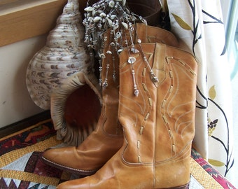 Leather Boots, Cowboy Boots, Tan leather Boots, Brazil Boots, Western boots, size 10