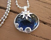 Sun Crystal - Blue Glass Pendant it comes with your choice of chain