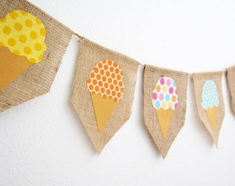 Shabby Summer Ice Cream Bunting Banner by thespeckleddog on Etsy - tt team, avidteam
