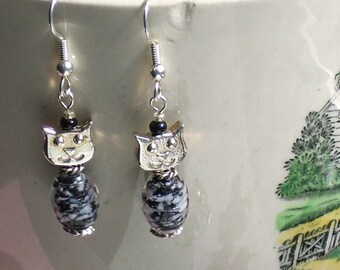 Black and White Glass and Silver Cat Earrings