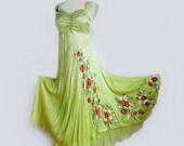 Silk hand painted summer evening dress Poppy flowers