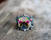 Day of the Dead Pug Sugar Skull Dog Adjustable Ring