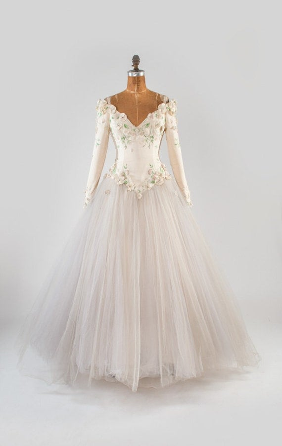 White Silk Beaded Vintage Gown Wedding Dress Pastel Glass