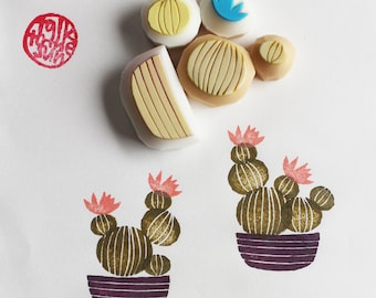 cactus stamps. cactus pot hand carved rubber stamps. gardening stamp. green scrapbooking. gift wrapping. holiday crafts. set of 5. no3